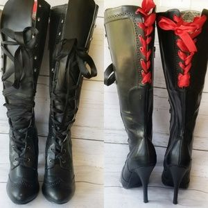 Bordello Knee High Boots Lace 10 Goth Halloween